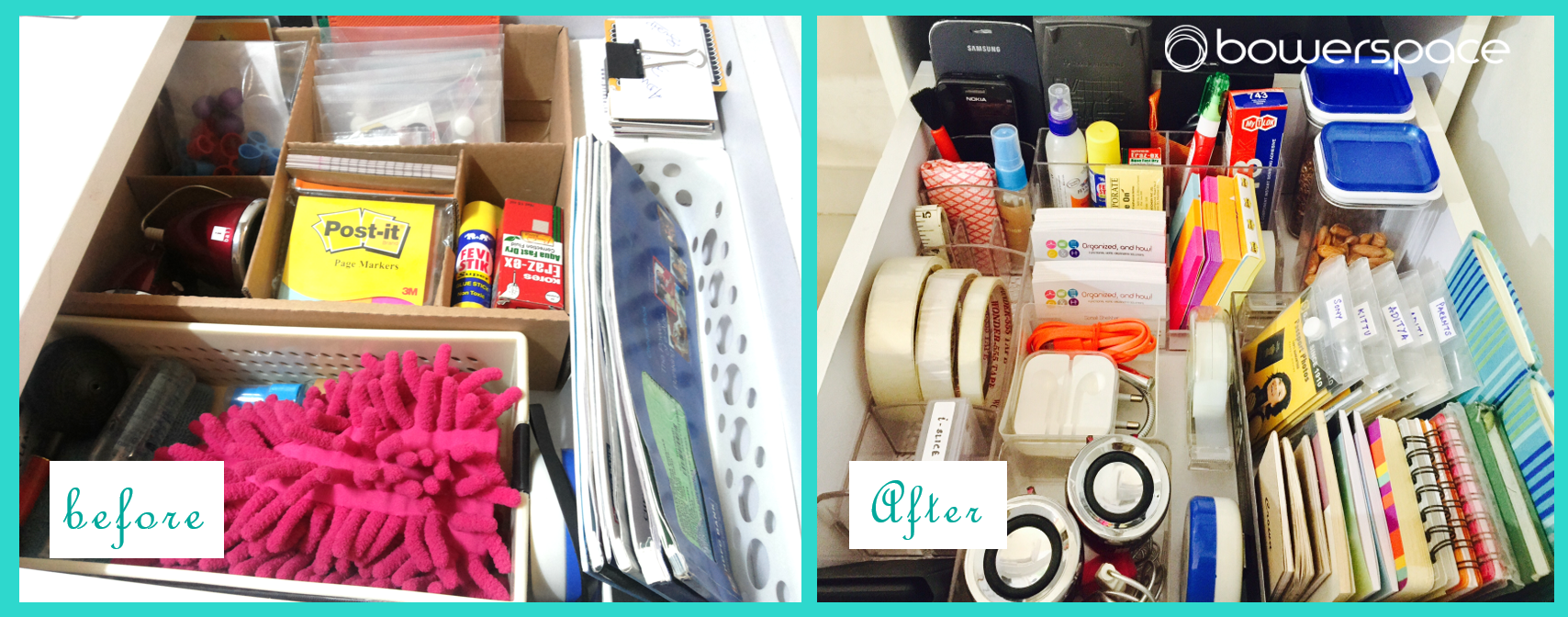 Organized Home Office Desk Drawer Before & After